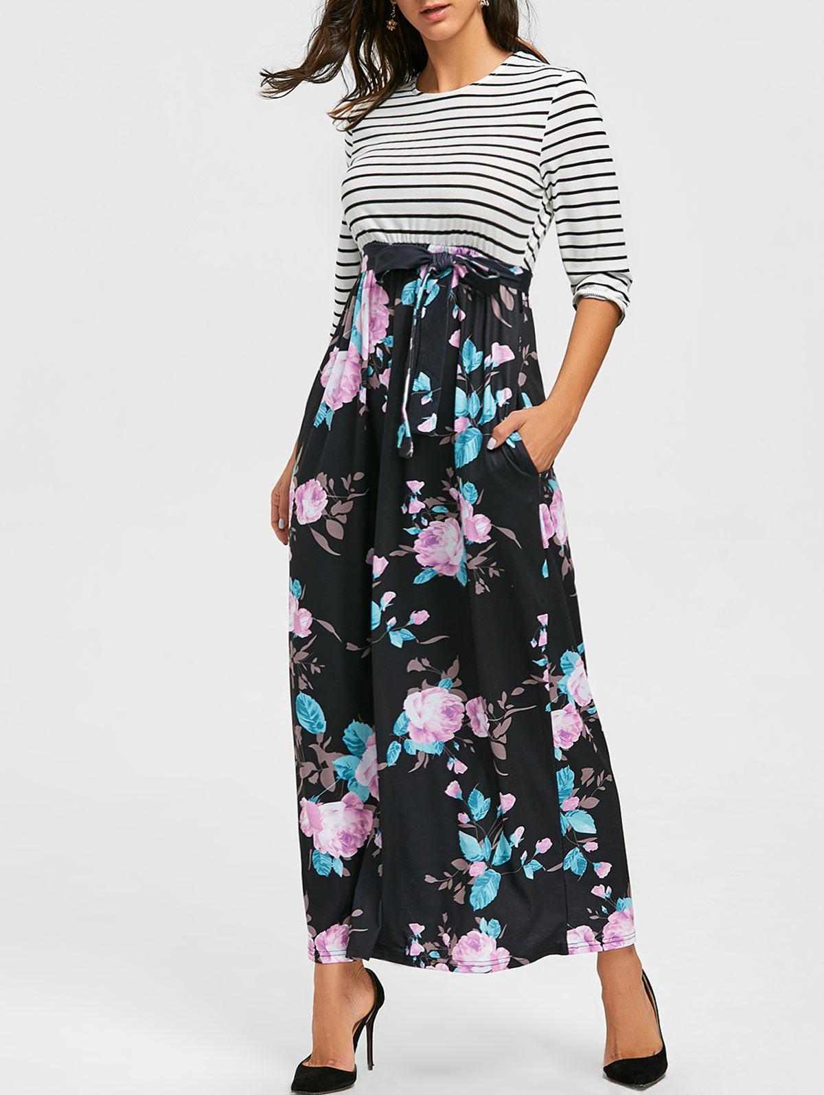 Hot Floral Print and Striped Maxi Dress