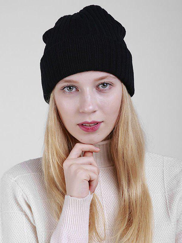 Flanging Design Plain Ribbed Knit BeanieACCESSORIES<br><br>Color: BLACK; Hat Type: Skullies Beanie; Group: Adult; Gender: For Women; Style: Fashion; Pattern Type: Solid; Material: Acrylic; Circumference (CM): 55CM-65CM; Weight: 0.1000kg; Package Contents: 1 x Hat;
