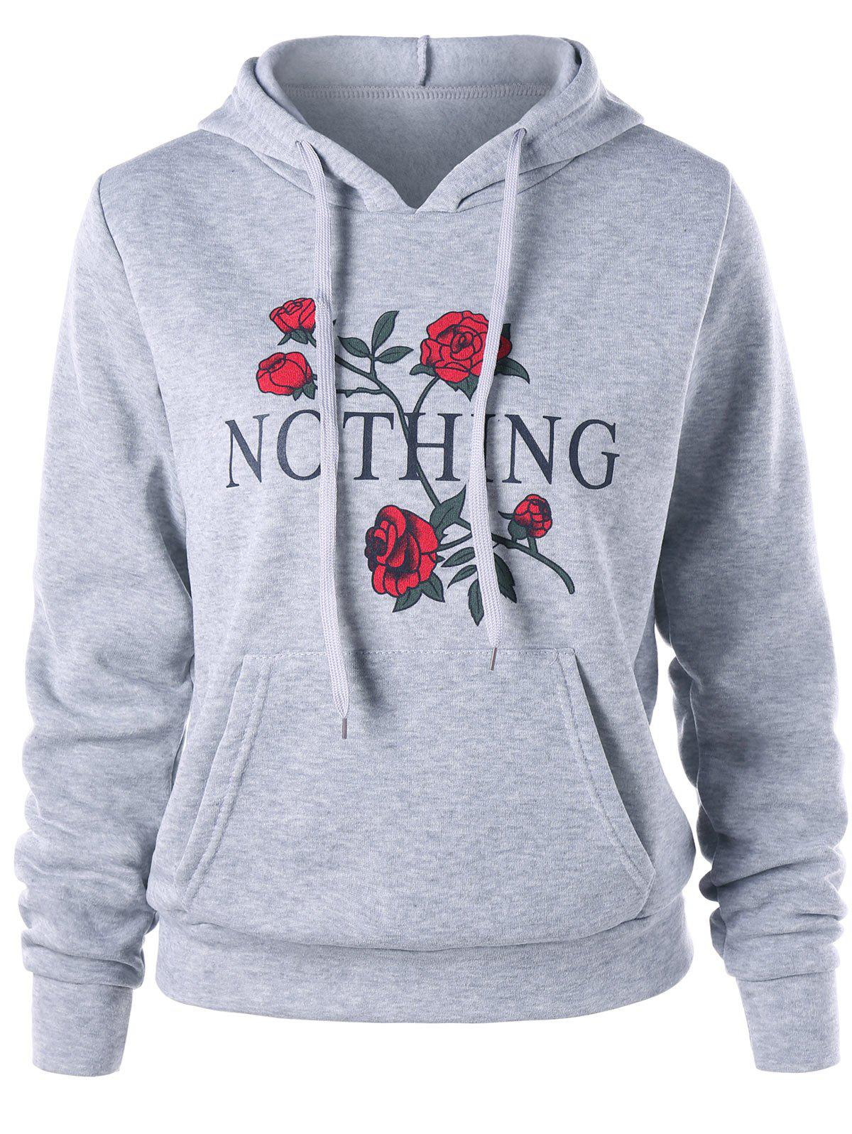 Unique Drawstring Nothing and Rose Print Hoodie