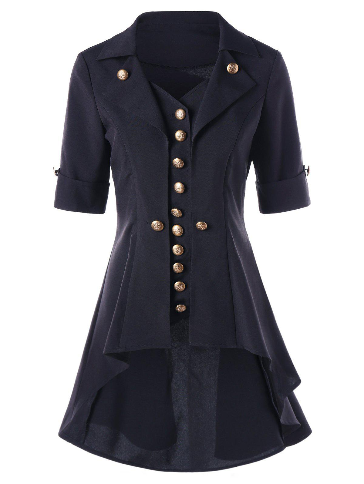 Discount High Low Button Tunic Coat