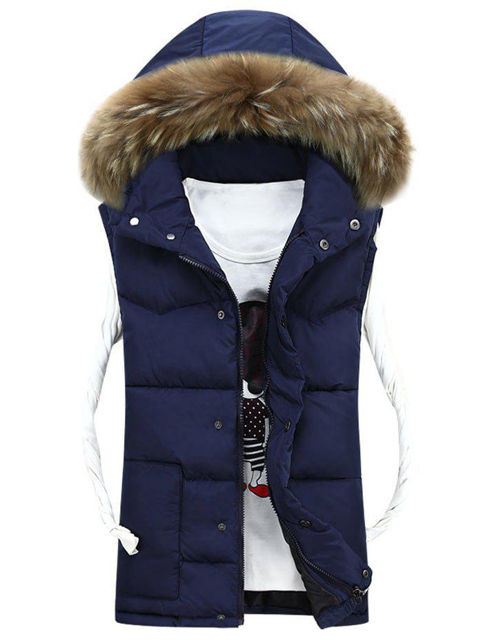 Latest Faux Fur Detachable Hood Quilted Vest