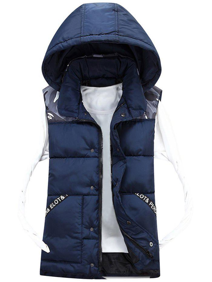 Trendy Detachable Hood Camo Pattern Quilted Vest