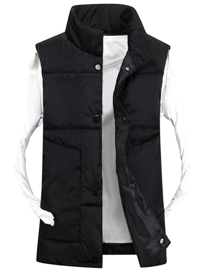 Fashion Snap Button Funnel Collar Quilted Vest