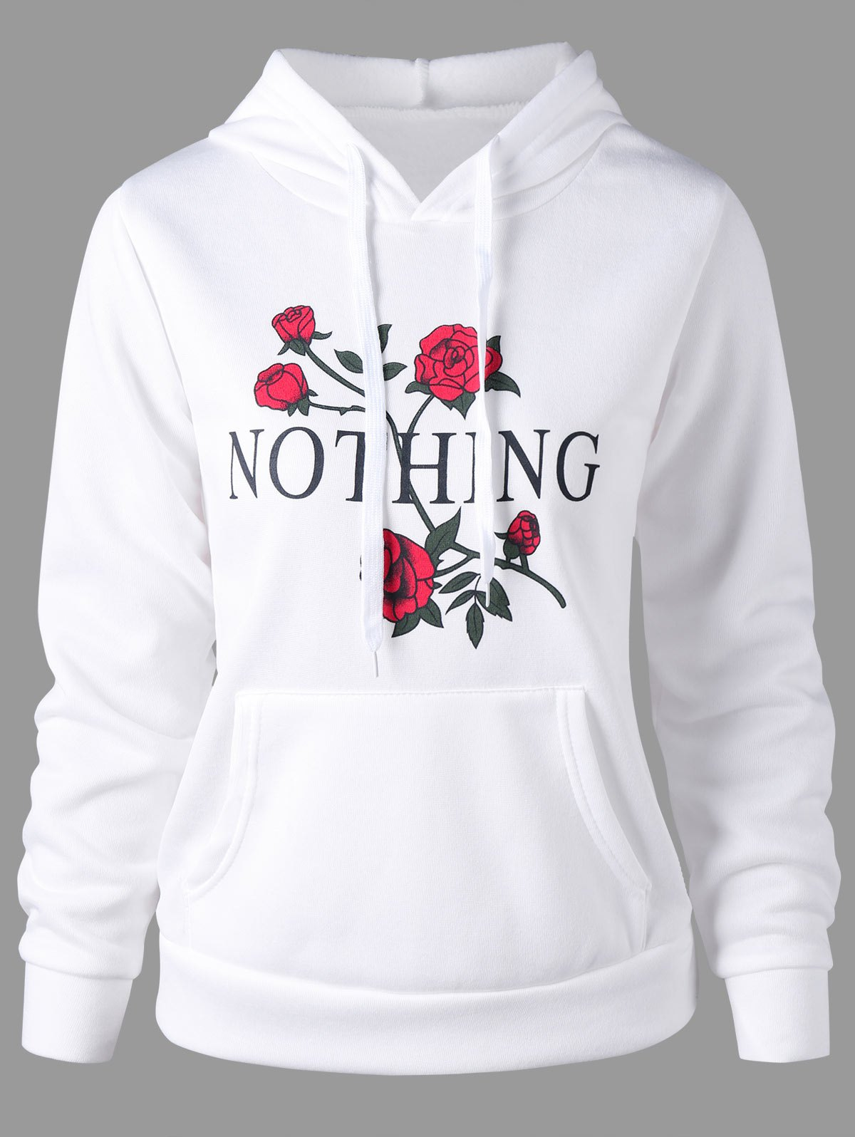 Drawstring Nothing and Rose Print HoodieWOMEN<br><br>Size: 2XL; Color: WHITE; Material: Polyester,Spandex; Shirt Length: Regular; Sleeve Length: Full; Style: Casual; Pattern Style: Floral,Letter; Season: Fall,Spring; Weight: 0.2570kg; Package Contents: 1 x Hoodie;