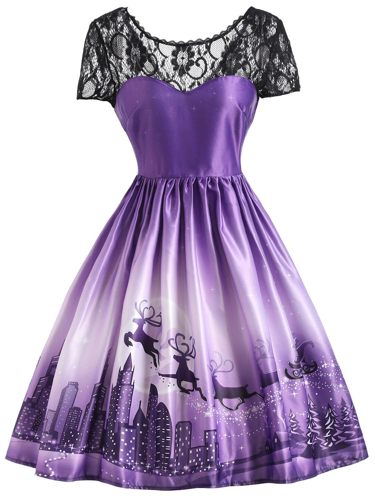 Christmas Elk Vintage Lace Yoke DressWOMEN<br><br>Size: M; Color: PURPLE; Style: Vintage; Material: Cotton,Polyester; Silhouette: A-Line; Dresses Length: Knee-Length; Neckline: Round Collar; Sleeve Length: Short Sleeves; Embellishment: Lace; Pattern Type: Print; With Belt: No; Season: Fall,Spring,Summer; Weight: 0.3800kg; Package Contents: 1 x Dress;