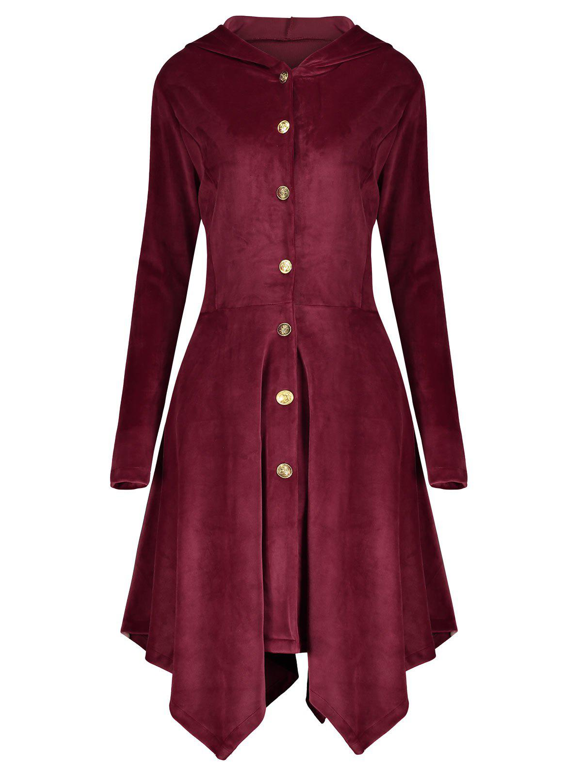Velvet Asymmetric Plus Size Button Up Hooded CoatWOMEN<br><br>Size: 5XL; Color: WINE RED; Clothes Type: Others; Material: Polyester,Spandex; Type: Asymmetric Length; Shirt Length: Long; Sleeve Length: Full; Collar: Hooded; Pattern Type: Solid; Style: Fashion; Season: Fall,Winter; Weight: 0.6700kg; Package Contents: 1 x Coat;