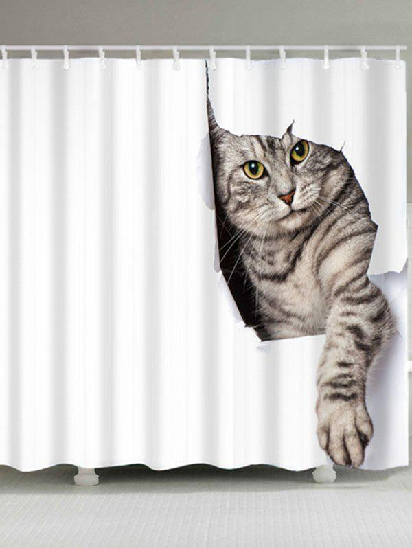Cat Print Waterproof Bath CurtainHOME<br><br>Size: W71 INCH * L71 INCH; Color: WHITE; Products Type: Shower Curtains; Materials: Polyester; Pattern: Animal; Style: Cute; Number of Hook Holes: W59 inch*L71 inch: 10; W71 inch*L71 inch: 12; Package Contents: 1 x Shower Curtain 1 x Hooks (Set);