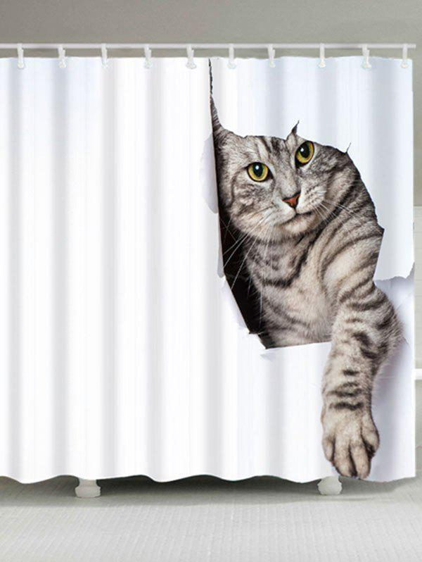 Cat Print Waterproof Bath CurtainHOME<br><br>Size: W59 INCH * L71 INCH; Color: WHITE; Products Type: Shower Curtains; Materials: Polyester; Pattern: Animal; Style: Cute; Number of Hook Holes: W59 inch*L71 inch: 10; W71 inch*L71 inch: 12; Package Contents: 1 x Shower Curtain 1 x Hooks (Set);