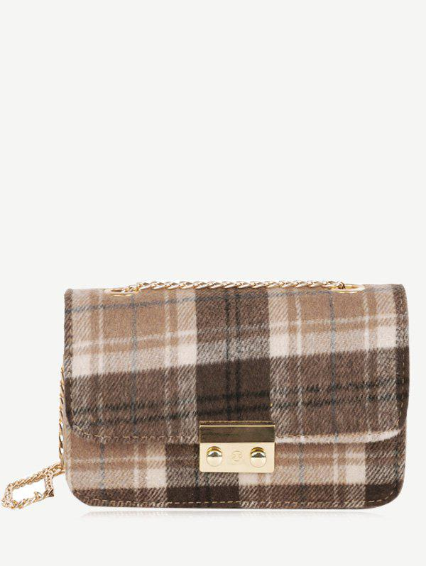 Outfit Chain Plaid  Color Block Crossbody Bag
