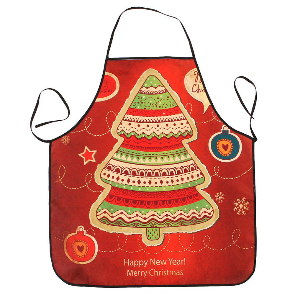 Christmas Cartoon Tree Print Waterproof Kitchen ApronHOME<br><br>Size: 80*70CM; Color: RED; Type: Apron; Material: Polyester; Pattern Type: Cartoon; Weight: 0.0800kg; Package Contents: 1 x Apron;