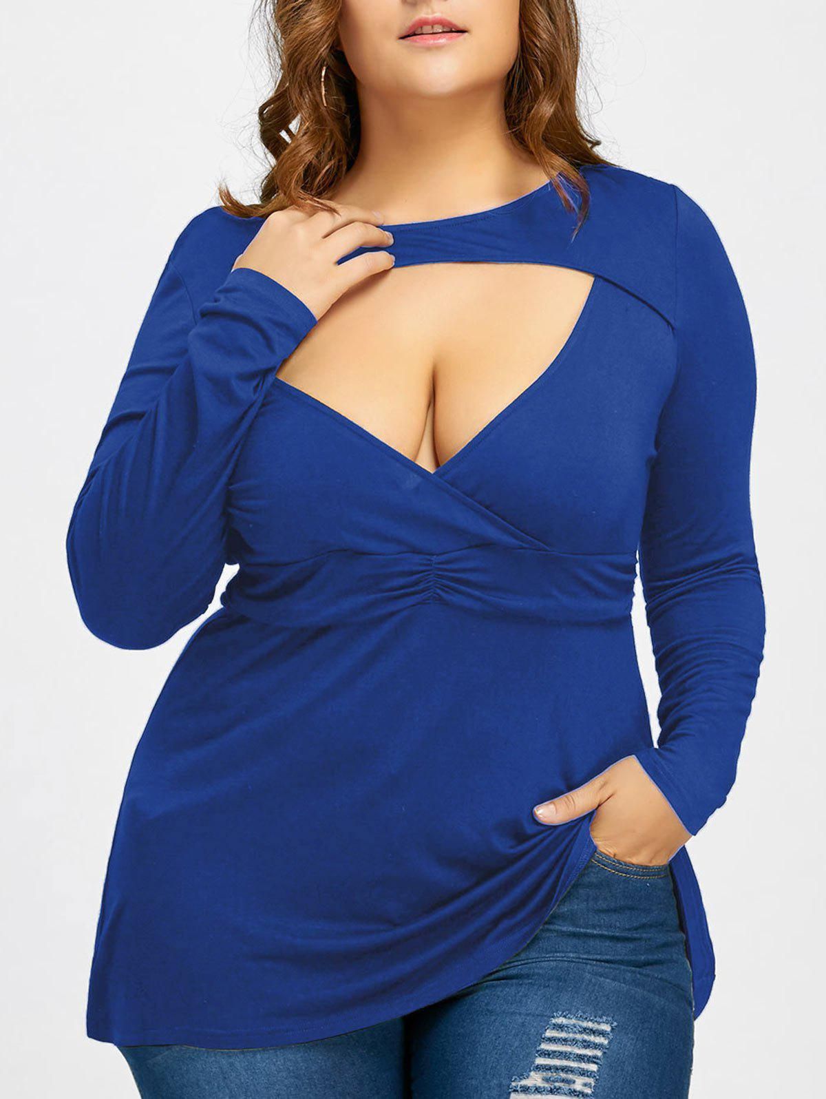 Empire Waist Plus Size Low Cut T-shirtWOMEN<br><br>Size: 3XL; Color: BLUE; Material: Cotton Blends,Spandex; Shirt Length: Long; Sleeve Length: Full; Collar: Crew Neck; Style: Fashion; Season: Fall,Spring; Pattern Type: Solid; Weight: 0.2970kg; Package Contents: 1 x T-shirt;