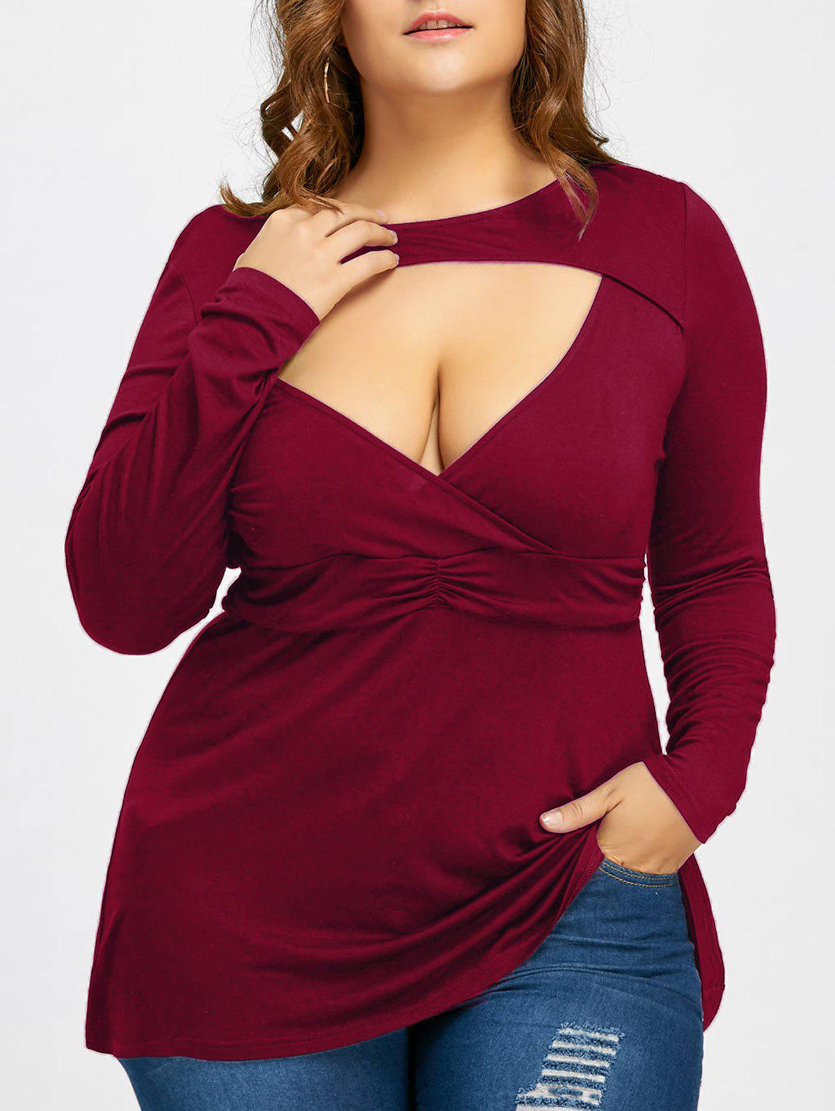 Empire Waist Plus Size Low Cut T-shirtWOMEN<br><br>Size: 4XL; Color: WINE RED; Material: Cotton Blends,Spandex; Shirt Length: Long; Sleeve Length: Full; Collar: Crew Neck; Style: Fashion; Season: Fall,Spring; Pattern Type: Solid; Weight: 0.2970kg; Package Contents: 1 x T-shirt;