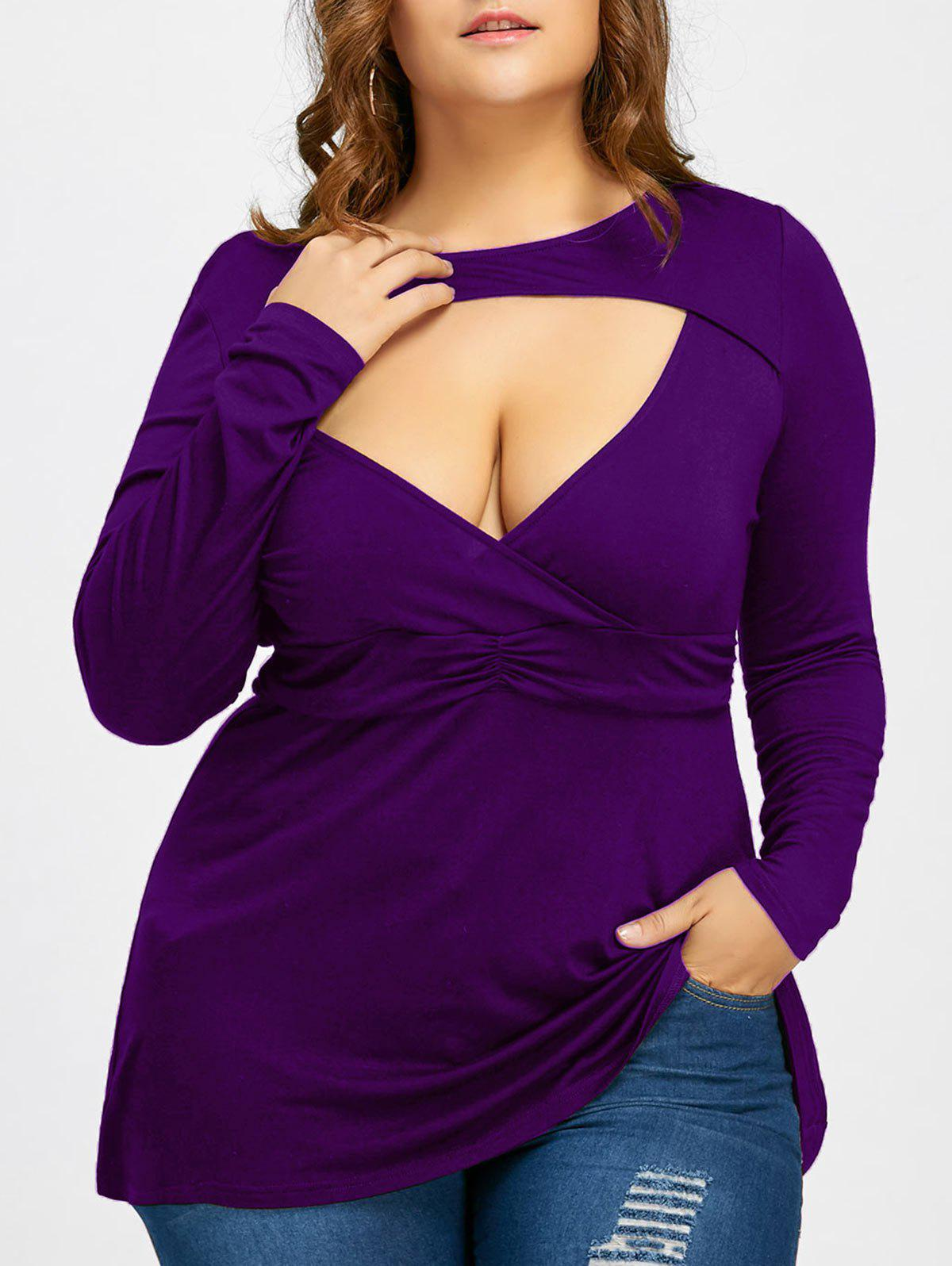 Empire Waist Plus Size Low Cut T-shirtWOMEN<br><br>Size: 4XL; Color: PURPLE; Material: Cotton Blends,Spandex; Shirt Length: Long; Sleeve Length: Full; Collar: Crew Neck; Style: Fashion; Season: Fall,Spring; Pattern Type: Solid; Weight: 0.2970kg; Package Contents: 1 x T-shirt;