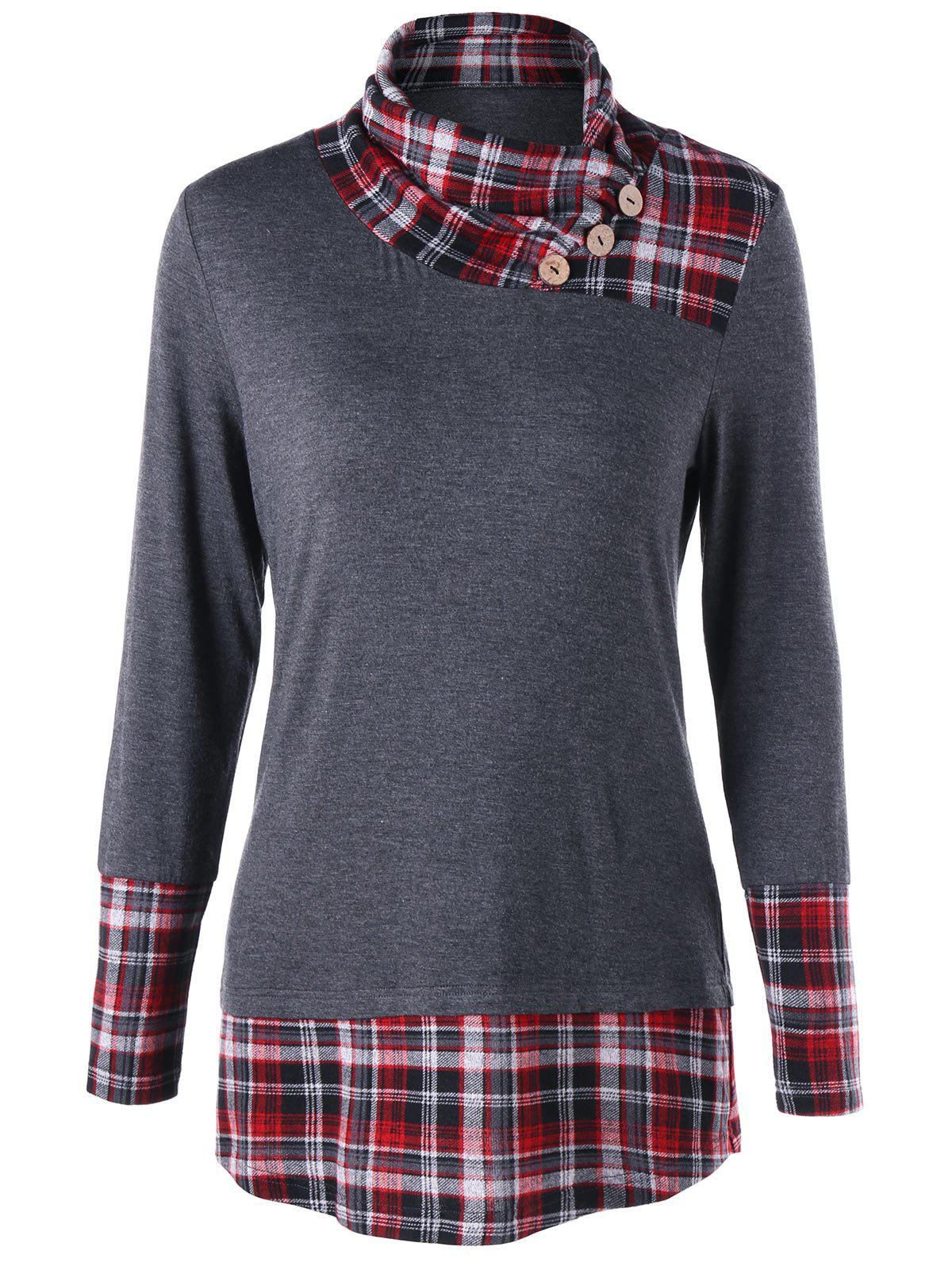 Plaid Hem Tunic TopWOMEN<br><br>Size: 2XL; Color: GRAY; Material: Rayon,Spandex; Shirt Length: Long; Sleeve Length: Full; Collar: Stand-Up Collar; Style: Casual; Embellishment: Button; Pattern Type: Plaid; Season: Fall,Spring; Weight: 0.3000kg; Package Contents: 1 x Top;