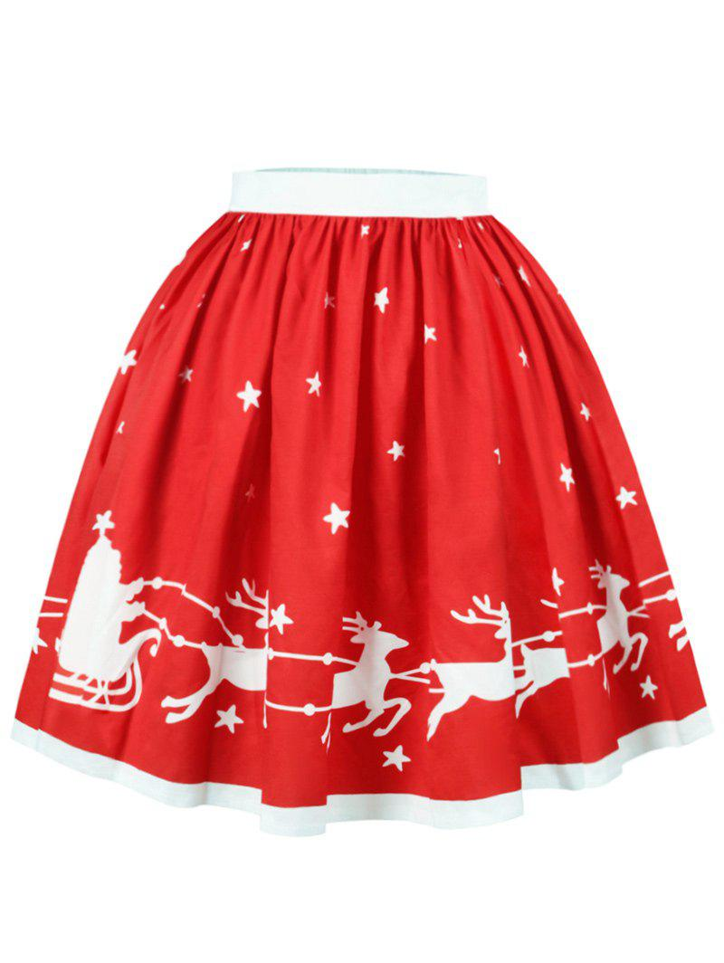 Christmas Star Elk Print A Line SkirtWOMEN<br><br>Size: S; Color: RED; Material: Cotton,Polyester; Length: Knee-Length; Silhouette: A-Line; Pattern Type: Animal,Star; Season: Fall,Spring; Weight: 0.2500kg; Package Contents: 1 x Skirt;