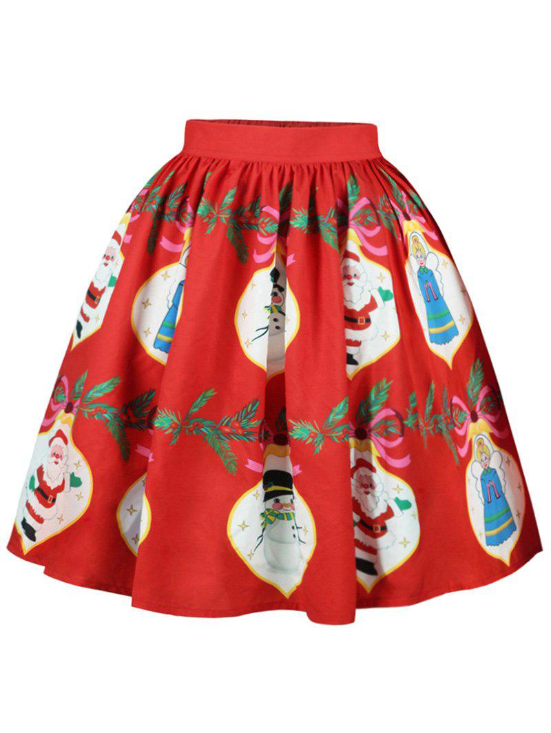 Christmas Santa Claus Snowman A Line SkirtWOMEN<br><br>Size: L; Color: RED; Material: Cotton,Polyester; Length: Knee-Length; Silhouette: A-Line; Pattern Type: Bowknot,Character; Season: Fall,Spring; Weight: 0.2500kg; Package Contents: 1 x Skirt;