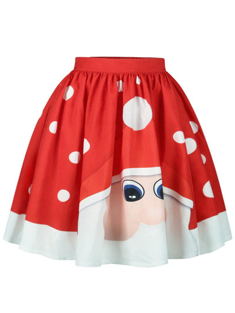 Christmas Polka Dot Santa Claus Printed SkirtWOMEN<br><br>Size: S; Color: RED; Material: Cotton,Polyester; Length: Knee-Length; Silhouette: A-Line; Pattern Type: Polka Dot; Season: Fall,Spring; Weight: 0.2500kg; Package Contents: 1 x Skirt;