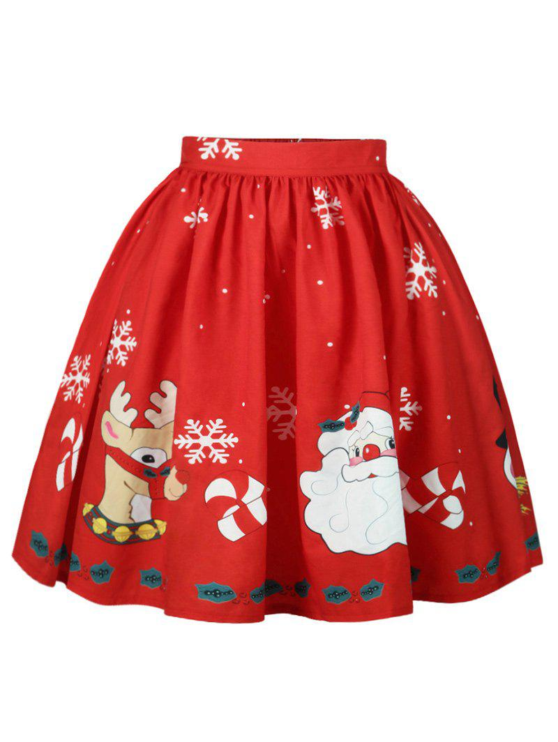 Christmas Snowflake Elk Santa Claus Print SkirtWOMEN<br><br>Size: L; Color: RED; Material: Cotton,Polyester; Length: Knee-Length; Silhouette: A-Line; Pattern Type: Print; Season: Fall,Spring; Weight: 0.2500kg; Package Contents: 1 x Skirt;