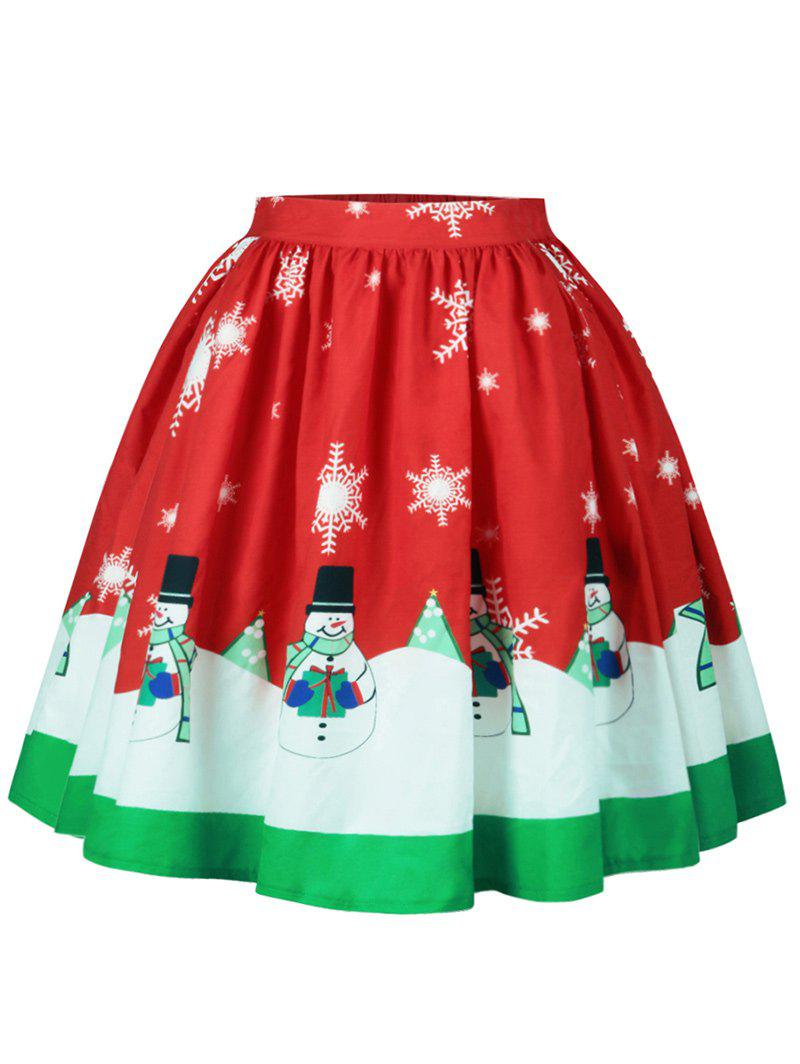 Christmas Snowflake Snowman Print A Line SkirtWOMEN<br><br>Size: L; Color: COLORMIX; Material: Cotton,Polyester; Length: Knee-Length; Silhouette: A-Line; Pattern Type: Print; Season: Fall,Spring; Weight: 0.2500kg; Package Contents: 1 x Skirt;