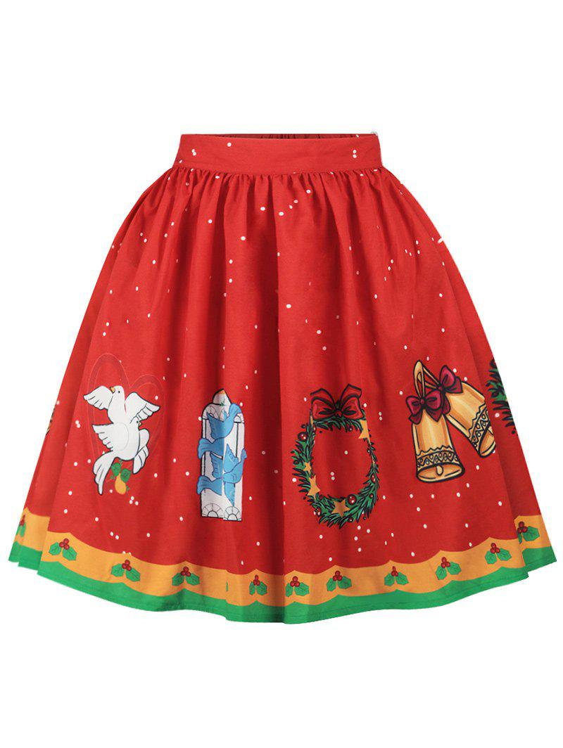 Christmas Bell Bird Printed A Line SkirtWOMEN<br><br>Size: S; Color: RED; Material: Cotton,Polyester; Length: Knee-Length; Silhouette: A-Line; Pattern Type: Animal,Bowknot,Character,Polka Dot; Season: Fall,Spring; Weight: 0.2500kg; Package Contents: 1 x Skirt;