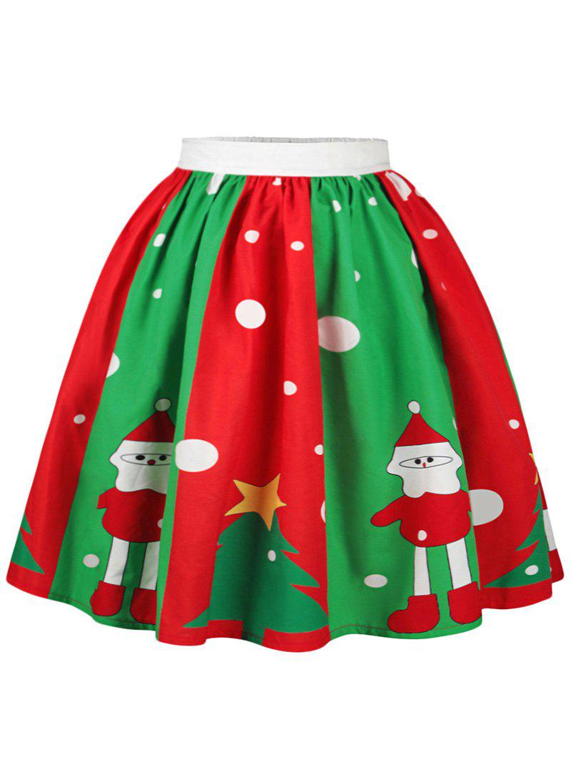 Christmas Polka Dot Snowman Tree Print SkirtWOMEN<br><br>Size: M; Color: COLORMIX; Material: Cotton,Polyester; Length: Knee-Length; Silhouette: A-Line; Pattern Type: Plant,Polka Dot,Star; Season: Fall,Spring; Weight: 0.2500kg; Package Contents: 1 x Skirt;
