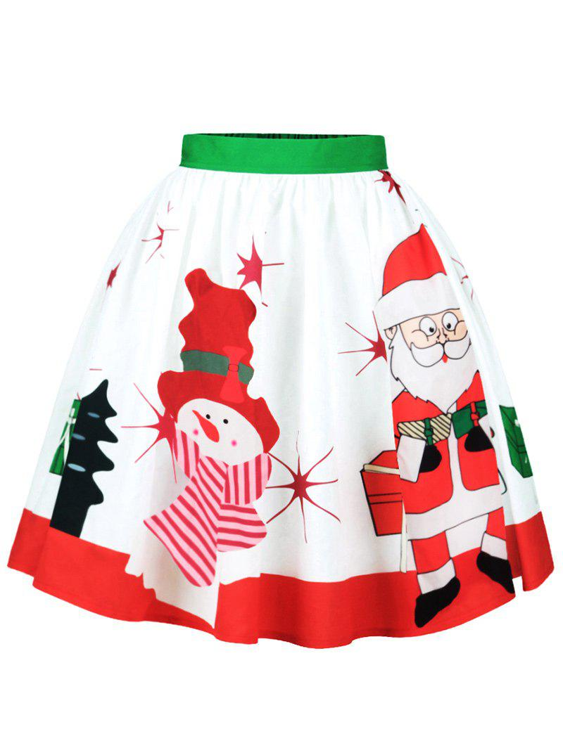 Christmas Santa Claus Snowman A Line SkirtWOMEN<br><br>Size: M; Color: COLORMIX; Material: Cotton,Polyester; Length: Knee-Length; Silhouette: A-Line; Pattern Type: Print,Star; Season: Fall,Spring; Weight: 0.2500kg; Package Contents: 1 x Skirt;