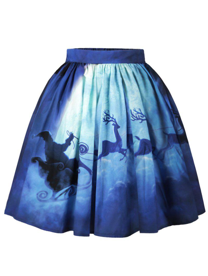 Christmas Moon Santa Claus Elk Print SkirtWOMEN<br><br>Size: M; Color: BLUE; Material: Cotton,Polyester; Length: Knee-Length; Silhouette: A-Line; Pattern Type: Moon,Print; Season: Fall,Spring; Weight: 0.2500kg; Package Contents: 1 x Skirt;
