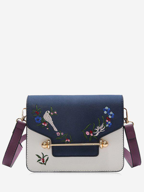 Flower Birds Embroidery Crossbody Bag