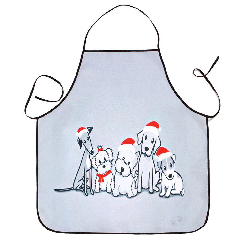 Christmas Dog  Print Waterproof Kitchen ApronHOME<br><br>Size: 80*70CM; Color: GRAY; Type: Apron; Material: Polyester; Pattern Type: Animal; Weight: 0.0800kg; Package Contents: 1 x Apron;
