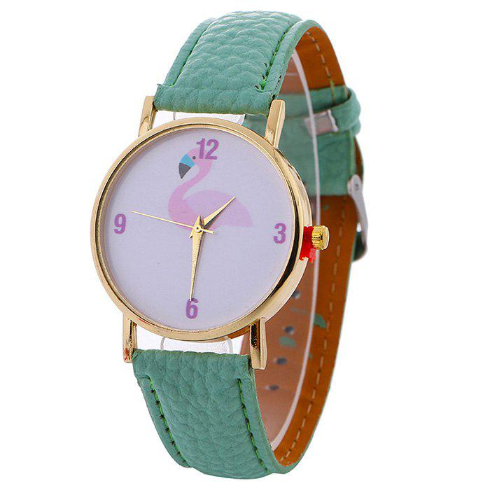 Flamingo Face Faux Leather Strap WatchJEWELRY<br><br>Color: MINT; Gender: For Women; Style: Casual; Type: Quartz watch; Index Dial: Analog; Case material: Alloy; Band material: PU Leather; Movement: Quartz; Dial Shape: Round; Water-Proof: No; Case Thickness(MM): 8mm; Dial Diameter: 3.8cm; Band Length(CM): 24cm; Band Width(CM): 1cm; Package Contents: 1 x Watch;
