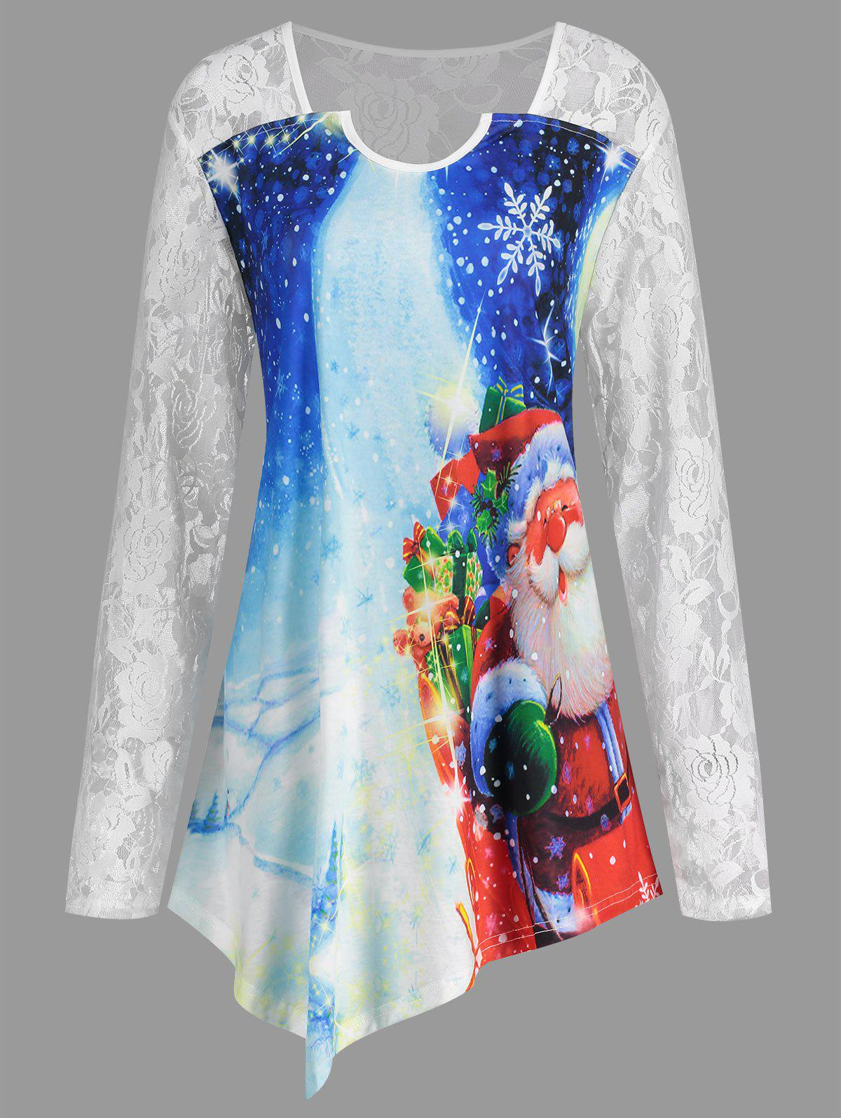Christmas Santa Claus Plus Size Asymmetrical T-shirtWOMEN<br><br>Size: 4XL; Color: WHITE; Material: Cotton,Polyester; Shirt Length: Long; Sleeve Length: Full; Collar: Square Neck; Style: Fashion; Season: Fall,Spring; Embellishment: Lace; Pattern Type: Moon,Print; Weight: 0.2300kg; Package Contents: 1 x T-shirt;