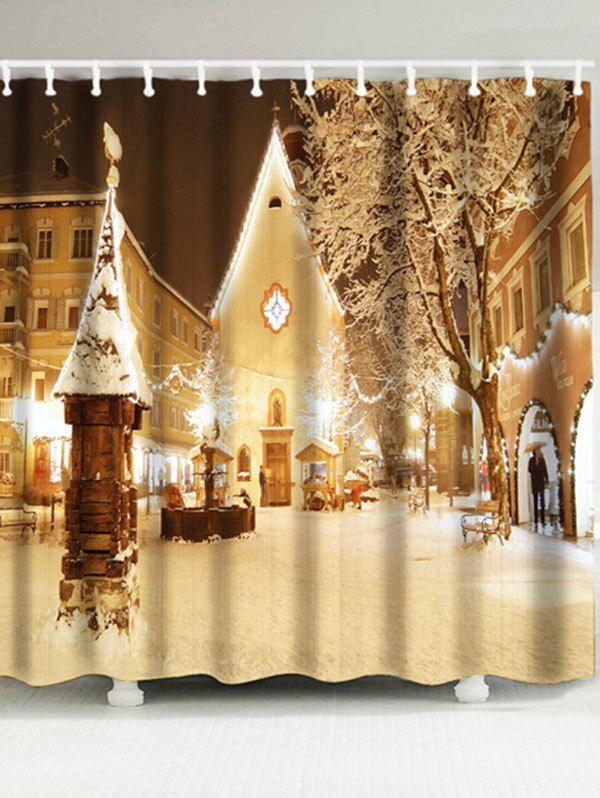 Christmas Snowscape Printed Waterproof Shower CurtainHOME<br><br>Size: W71 INCH * L71 INCH; Color: LIGHT BROWN; Products Type: Shower Curtains; Materials: Polyester; Style: Festival; Number of Hook Holes: W59 inch*L71 inch: 10; W71 inch*L71 inch: 12; Package Contents: 1 x Shower Curtain 1 x Hooks (Set);