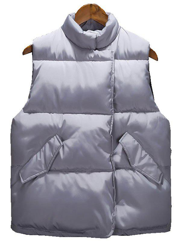 Affordable Asymmetrical Snap Button Up Quilted Vest