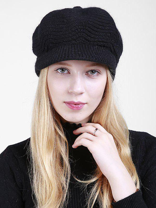 Knitted Wave Shape Newsboy HatACCESSORIES<br><br>Color: BLACK; Hat Type: Newsboy Caps; Group: Adult; Gender: For Women; Style: Fashion; Pattern Type: Solid; Material: Acrylic; Circumference (CM): 55CM-60CM; Weight: 0.1600kg; Package Contents: 1 x Hat;