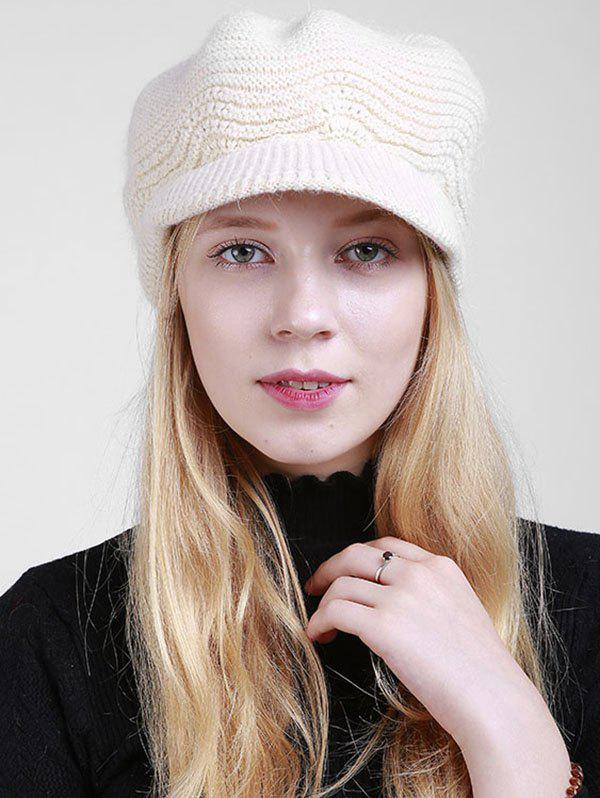 Knitted Wave Shape Newsboy HatACCESSORIES<br><br>Color: OFF-WHITE; Hat Type: Newsboy Caps; Group: Adult; Gender: For Women; Style: Fashion; Pattern Type: Solid; Material: Acrylic; Circumference (CM): 55CM-60CM; Weight: 0.1600kg; Package Contents: 1 x Hat;