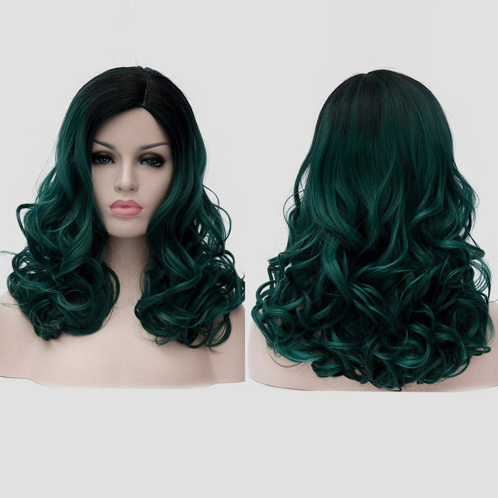 Medium Side Parting Shaggy Colormix Curly Synthetic Party WigHAIR<br><br>Color: BLACKISH GREEN; Type: Full Wigs; Cap Construction: Capless; Style: Curly; Cap Size: Average; Material: Synthetic Hair; Bang Type: Side; Length: Medium; Occasion: Party; Length Size(CM): 45; Weight: 0.1550kg; Package Contents: 1 x Wig;