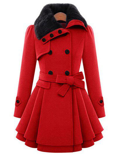 Skirted A Line Coat with BeltWOMEN<br><br>Size: M; Color: RED; Clothes Type: Others; Material: Polyester; Type: Skirted; Shirt Length: Long; Sleeve Length: Full; Collar: Turndown Collar; Pattern Type: Solid; Style: Fashion; Season: Winter; With Belt: Yes; Weight: 0.5500kg; Package Contents: 1 x Coat  1 x Belt;