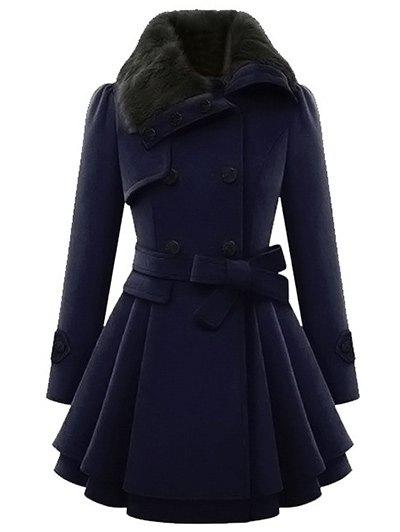 Skirted A Line Coat with BeltWOMEN<br><br>Size: S; Color: PEARL INDIGO BLUE; Clothes Type: Others; Material: Polyester; Type: Skirted; Shirt Length: Long; Sleeve Length: Full; Collar: Turndown Collar; Pattern Type: Solid; Style: Fashion; Season: Winter; With Belt: Yes; Weight: 0.5500kg; Package Contents: 1 x Coat  1 x Belt;