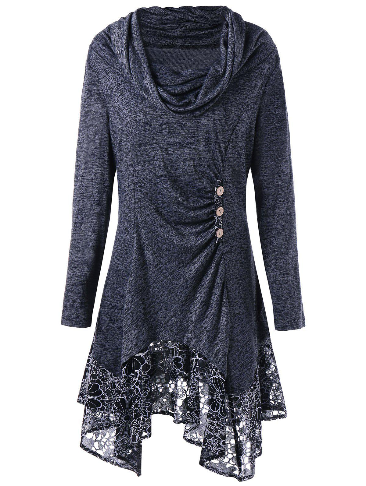 Plus Size Floral Cowl Neck Longline TopWOMEN<br><br>Size: 3XL; Color: DEEP GRAY; Material: Rayon; Shirt Length: Long; Sleeve Length: Full; Collar: Cowl Neck; Style: Casual; Season: Fall,Spring; Embellishment: Button; Pattern Type: Floral; Weight: 0.4700kg; Package Contents: 1 x Top;