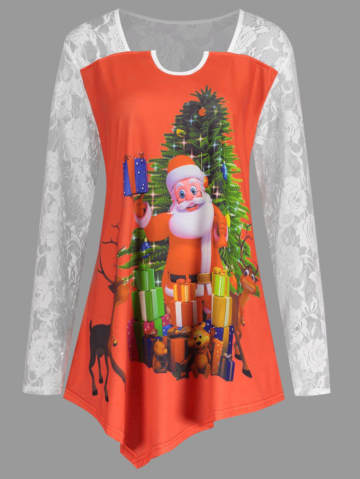 Christmas Santa Claus Plus Size Lace Yoke T-shirtWOMEN<br><br>Size: 4XL; Color: RED; Material: Cotton,Polyester; Shirt Length: Long; Sleeve Length: Full; Collar: Square Neck; Style: Fashion; Season: Fall,Spring; Embellishment: Lace; Pattern Type: Animal,Print; Weight: 0.2300kg; Package Contents: 1 x T-shirt;