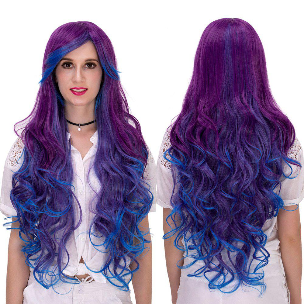 Discount Long Side Bang Layered Curly Synthetic Colormix Party Wig