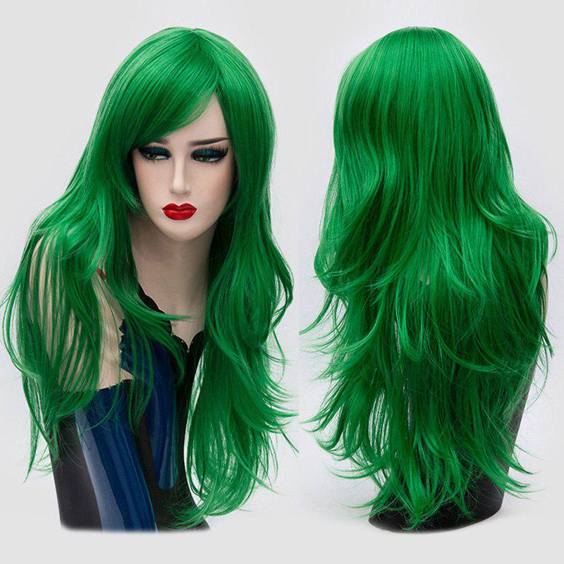 Long Side Bang Layered Slightly Curly Synthetic Party WigHAIR<br><br>Color: GREEN; Type: Full Wigs; Cap Construction: Capless; Style: Straight; Cap Size: Average; Material: Synthetic Hair; Bang Type: Side; Length: Long; Occasion: Party; Length Size(CM): 65; Weight: 0.2150kg; Package Contents: 1 x Wig;