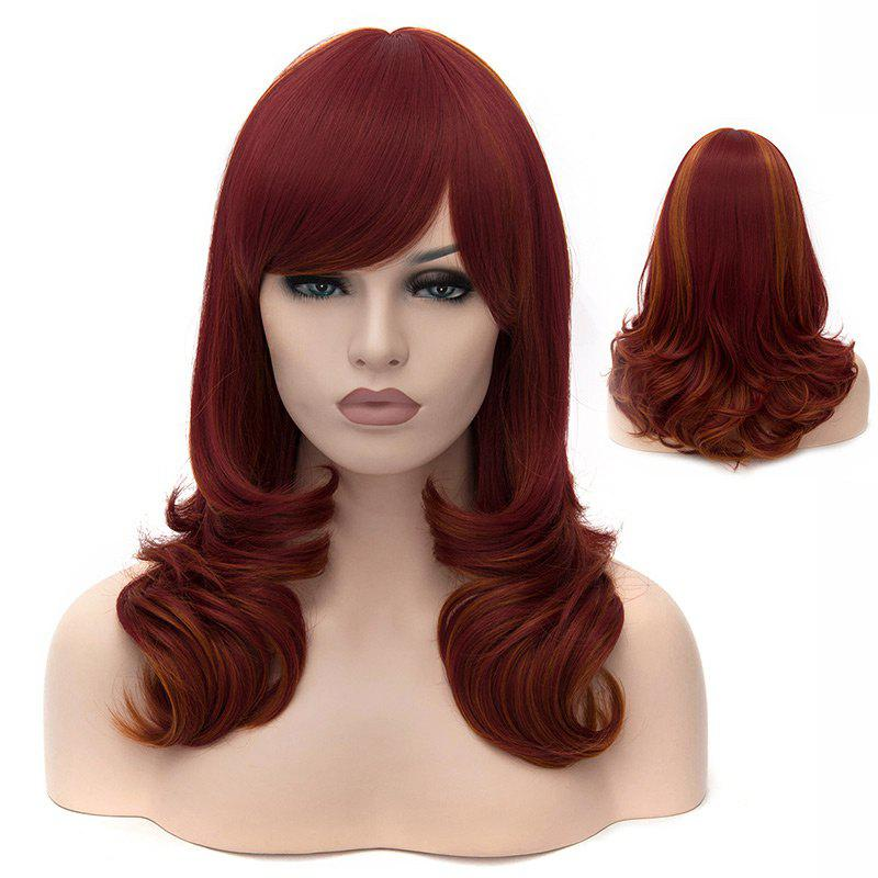 Medium Side Bang Layered Highlighted Slightly Curled Synthetic Party WigHAIR<br><br>Color: DARK AUBURN; Type: Full Wigs; Cap Construction: Capless; Style: Curly; Cap Size: Average; Material: Synthetic Hair; Bang Type: Side; Length: Medium; Occasion: Party; Length Size(CM): 40; Weight: 0.1750kg; Package Contents: 1 x Wig;
