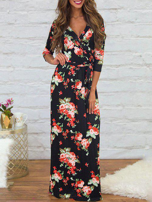Online Plunging Neck Printed Dress with Belt