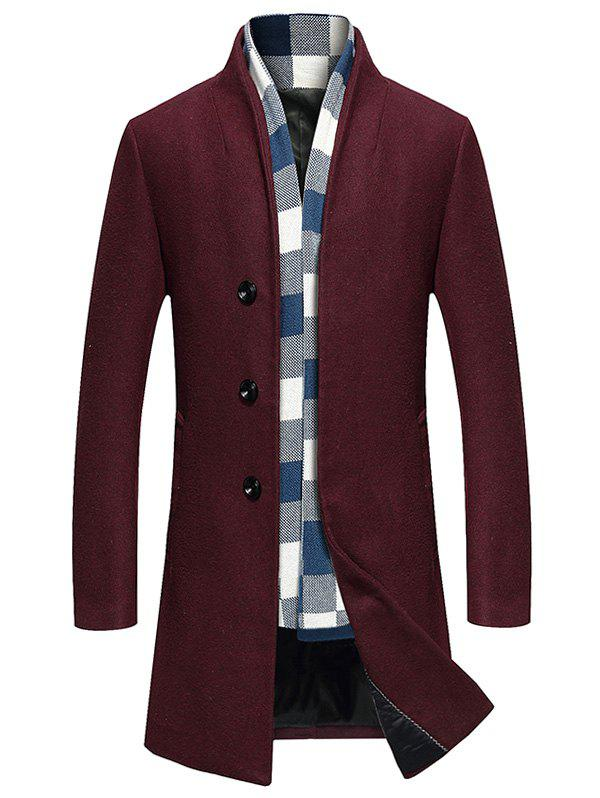 Fashion Single Breasted Longline Woolen Coat