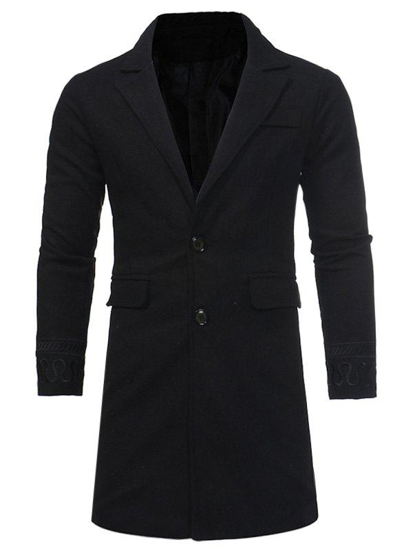 Chic Single Breasted Embroidered Longline Woolen Coat