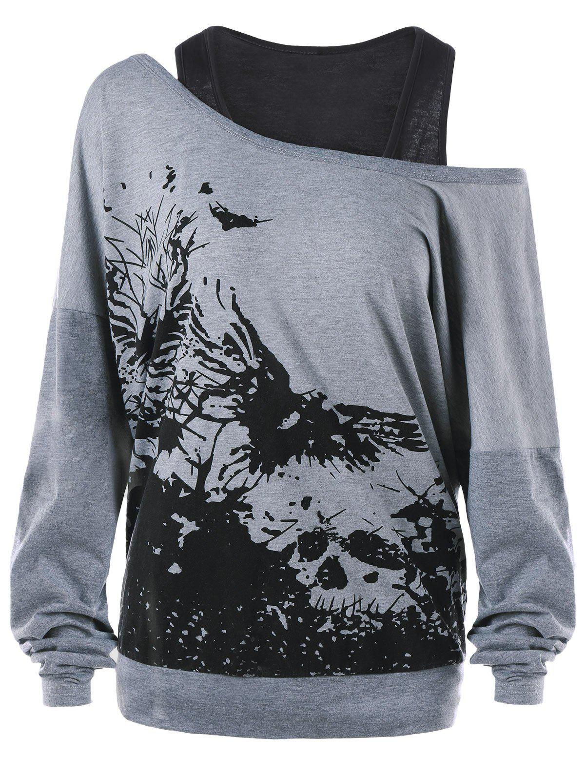Ink Painting Plus Size Sweatshirt with Tank TopWOMEN<br><br>Size: 5XL; Color: GRAY; Material: Polyester; Shirt Length: Regular; Sleeve Length: Full; Style: Casual; Pattern Style: Print; Season: Fall,Spring,Winter; Weight: 0.4300kg; Package Contents: 1 x Sweatshirt  1 x Tank Top;