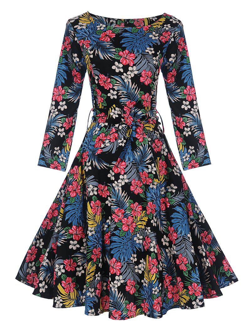 Vintage Tropical Print Pin Up Skater DressWOMEN<br><br>Size: M; Color: FLORAL; Style: Vintage; Material: Cotton,Polyester; Silhouette: A-Line; Dresses Length: Knee-Length; Neckline: Round Collar; Sleeve Length: Long Sleeves; Pattern Type: Floral; With Belt: Yes; Season: Fall,Spring; Weight: 0.4000kg; Package Contents: 1 x Dress    1 x Belt;