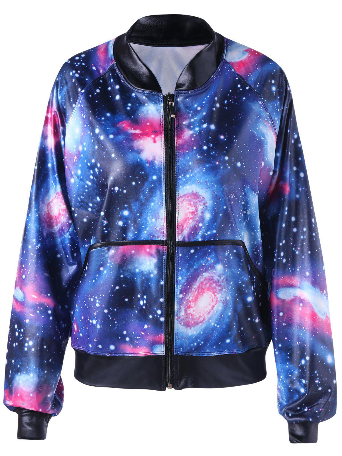 Online Raglan Sleeve Zip Up Galaxy Jacket