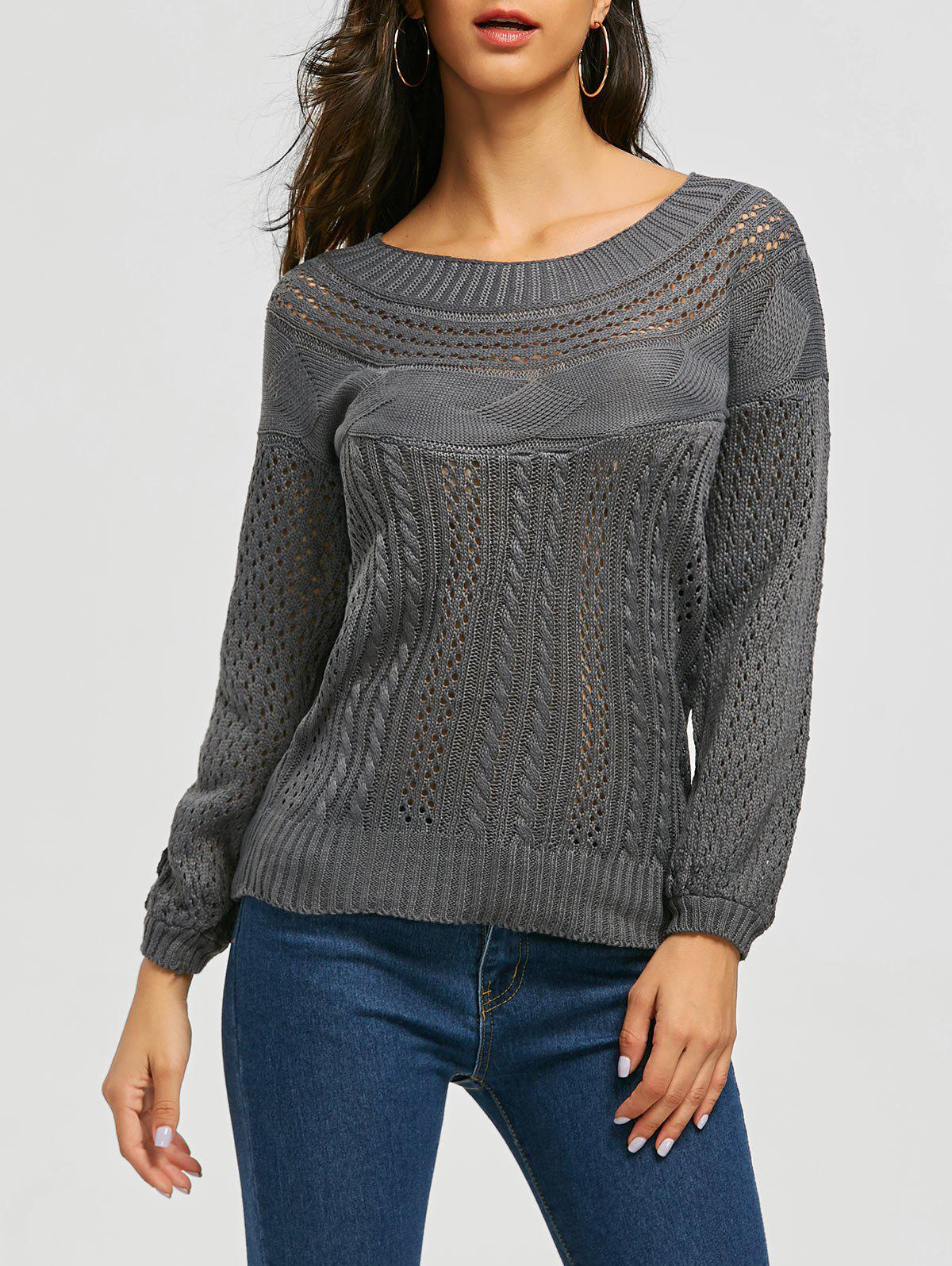 Chic Boat Neck Long Sleeve Pure Color Womens SweaterWOMEN<br><br>Size: M; Color: GRAY; Type: Pullovers; Material: Acrylic; Sleeve Length: Full; Collar: Boat Neck; Style: Fashion; Weight: 0.4590kg; Package Contents: 1 x Sweater;